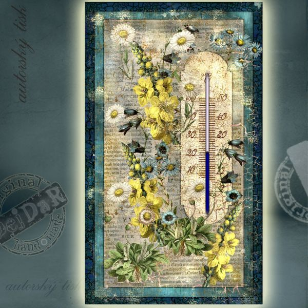 Teploměr pokojový modré květy