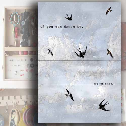 Šperkovnice, skříňka na zeď, motiv vlaštovky, Tip na dárek