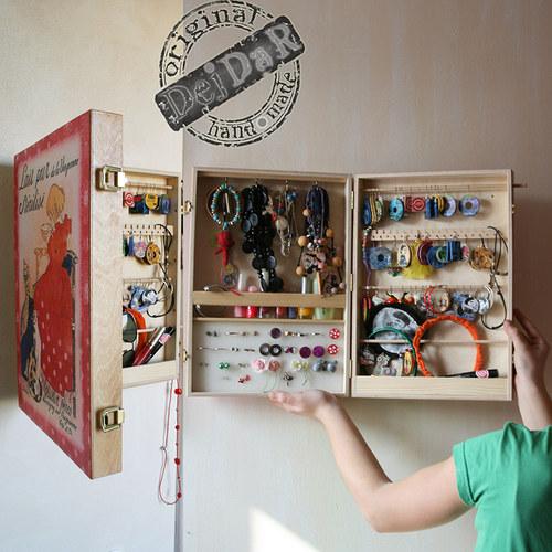 Šperkovnice, skřínka na zeď, motivžlutá sakura, Tip na dárek