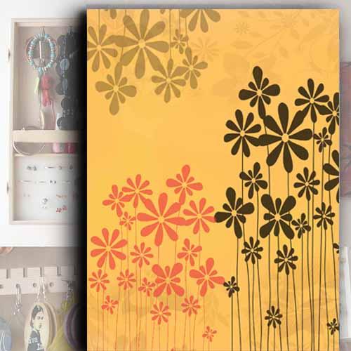 Šperkovnice na zeď, skříňka na zeď, motiv oranžové vektroy,květy, Tip na dárek