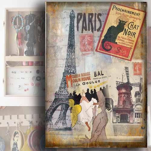 Dřevěný oganizer na šperky - Motiv Paříž