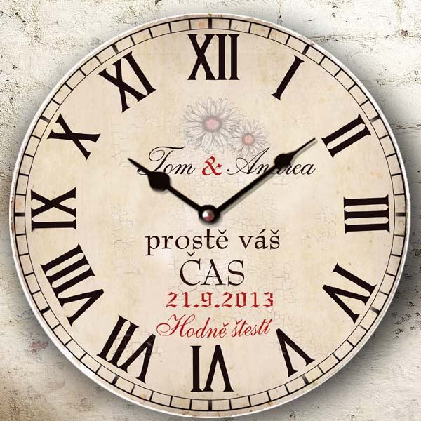 Svatební dar - originální svatební hodiny - váš čas