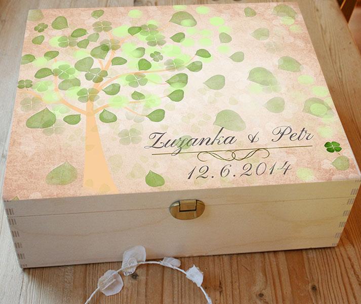 Svatební krabice se stromem přání na vzkazy a podpisy