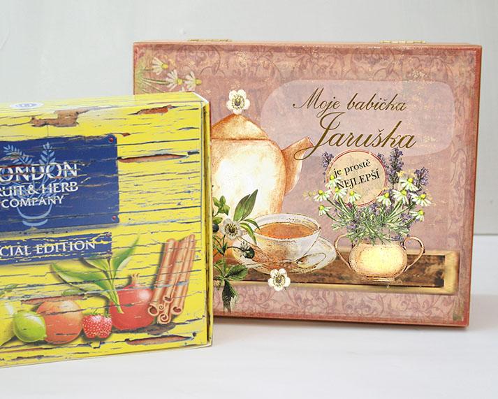Vánoční dárek pro babičku, kazeta na čaj se jménem