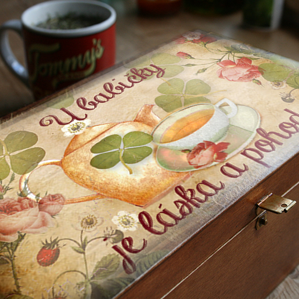 Krabička na čaj - dárek pro babičku k Vánocům