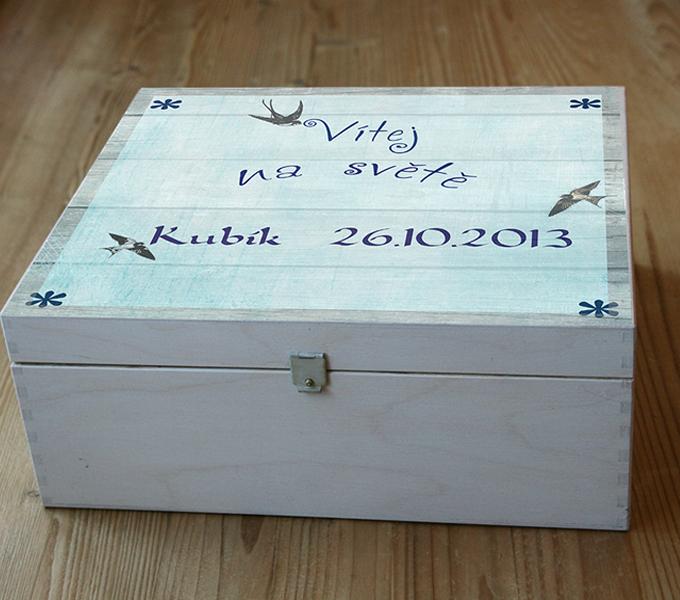 Dárek k narození miminka - chlapeček, krabice na vzpomínky