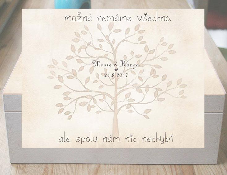 Svatební krabice se svatebním citátem