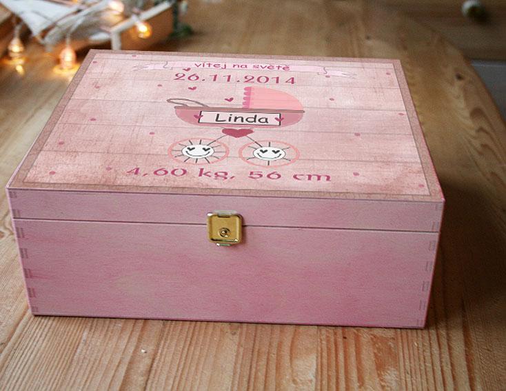 Dárek k narození miminka, krabice pro holčičku, kočárek