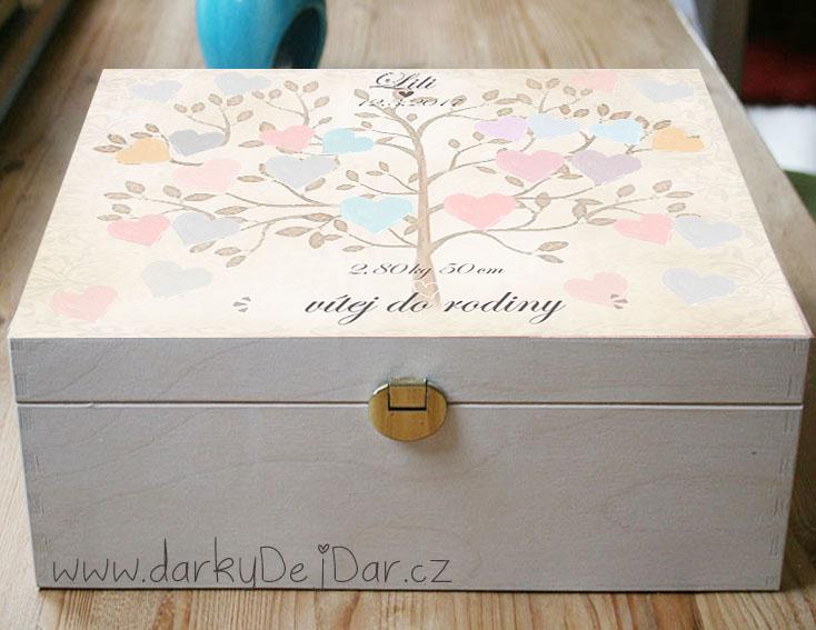 Dárek k narození miminka, krabice se stromem