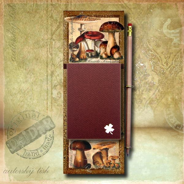 Zápisník dekorace houby
