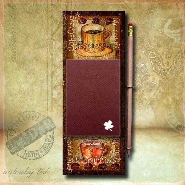 Zápisník dekorace káva I.