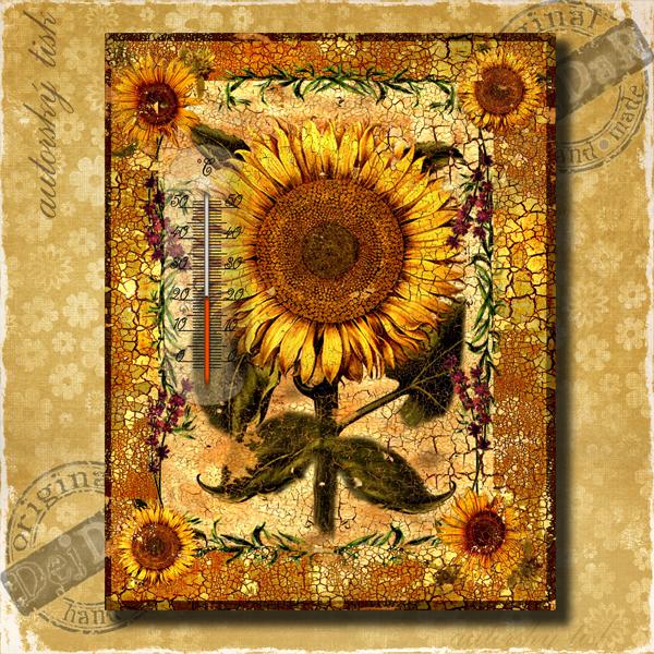 Teploměr dekorační v. slunečnice I.