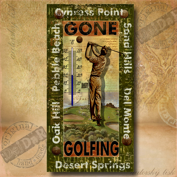 Teploměr dekorační p. golf