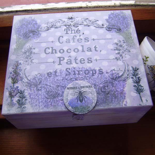 Krabička na čaj - vintage levandule