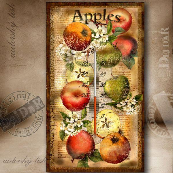 Teploměr pokojový jablko