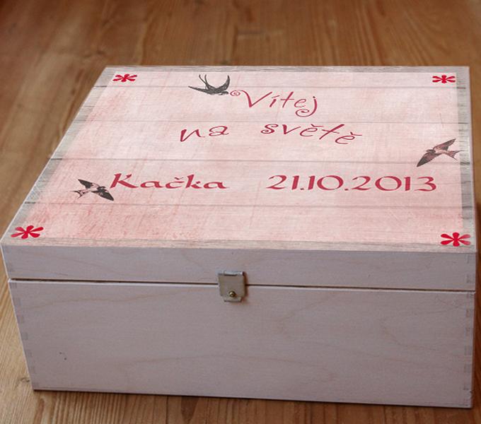 Dárek k narození miminka - holčička, krabice na vzpomínky