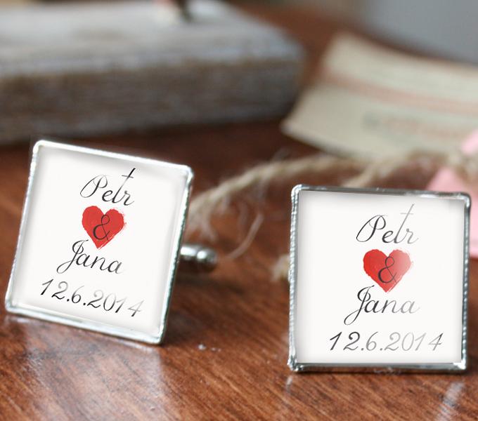 svatební manžetové knoflíčky s monogramem na přání