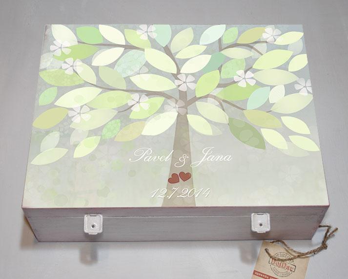 Svatební krabice se stromem přání na vzkazy a podpisy - zelená