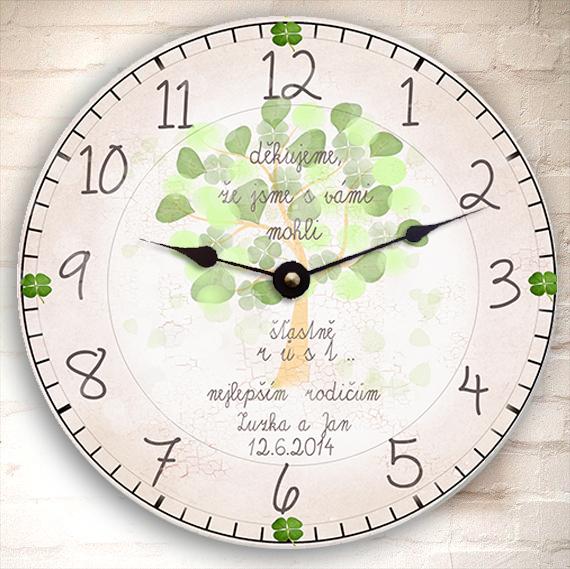 poděkování rodičům, originální hodiny