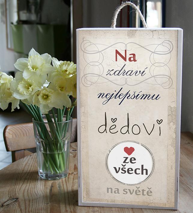 Dárek pro dědu, krabice na víno nebo jiný alkohol