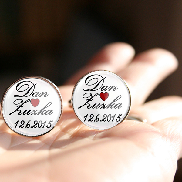 originální svatební manžetové knoflíčky na zakázku