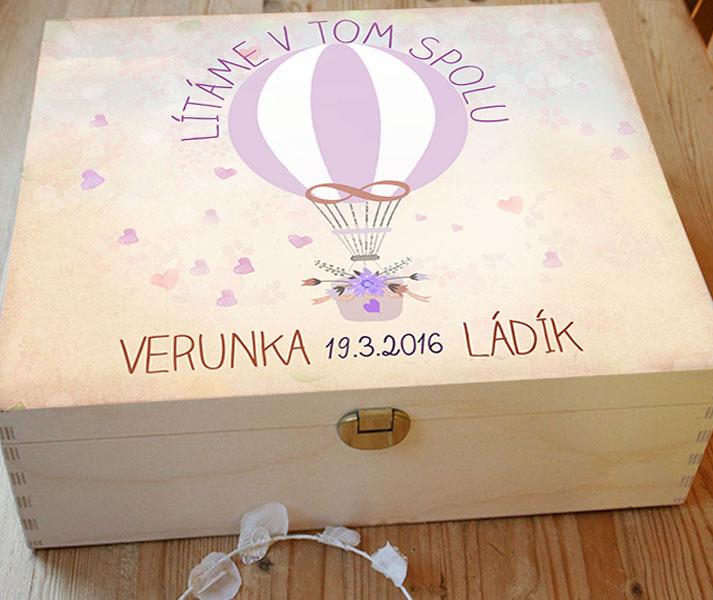 Svatební krabice s motivem balonu