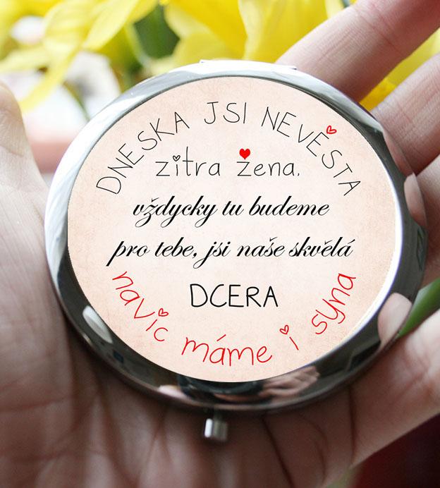 dárek pro nevěstu, svatební zrcátko pro dceru