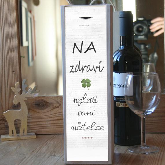 Dárek pro učitelku, krabice na víno