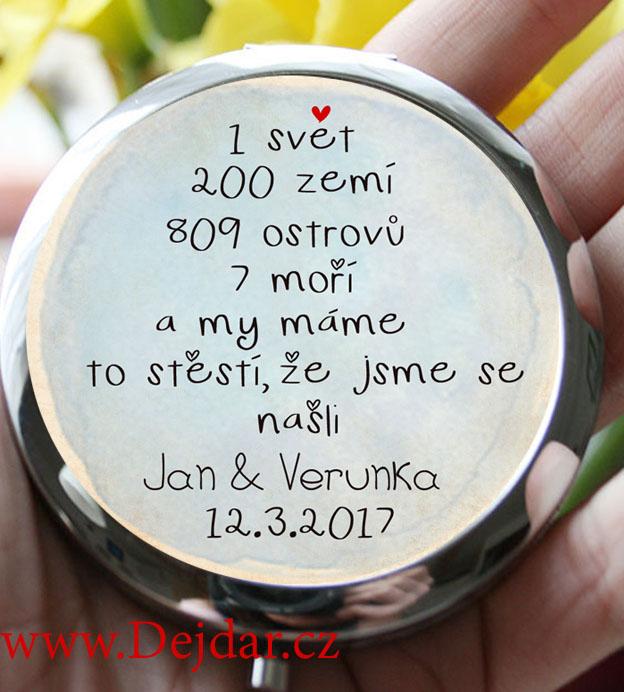 Svatební zrcátko s citátem ke svatbě