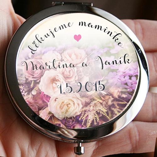 Zrcátko ke svatbě s květinovým motivem