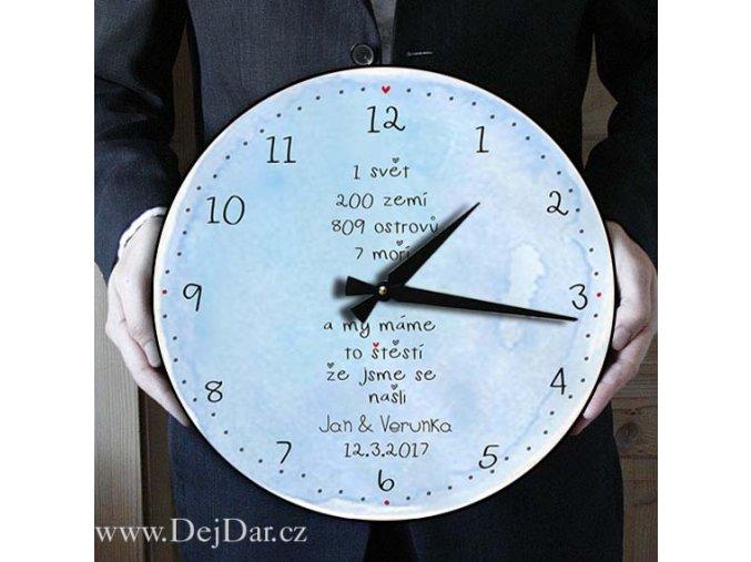 Velké svatební hodiny v modrém