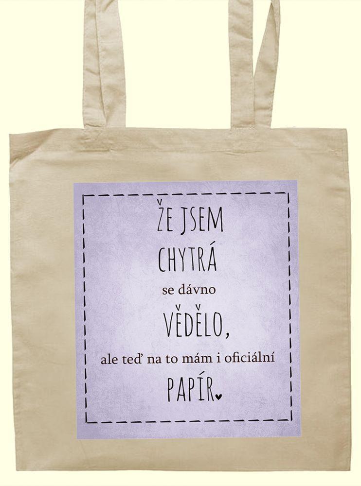 Plátěná taška s originálním potiskem k promoci