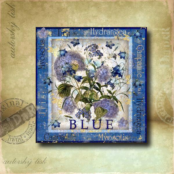Obrázek čtvercový modré květiny