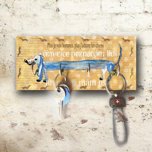 věšák na klíče, dárek pro milovníky psů