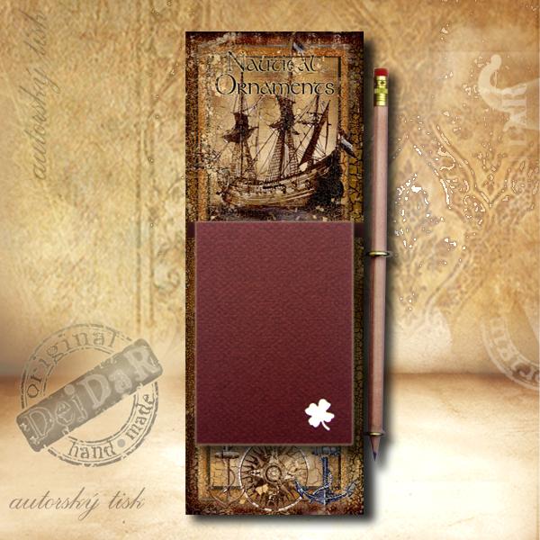 Zápisník dekorace loď I.