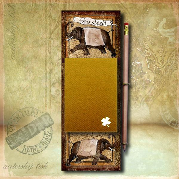 Zápisník dekorace sloni I.